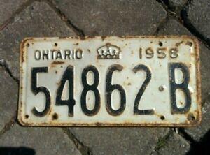 Vintage 1958 Ontario ON Canada Vehicle License Plate WHITE BLACK ~ POOR 54862 B