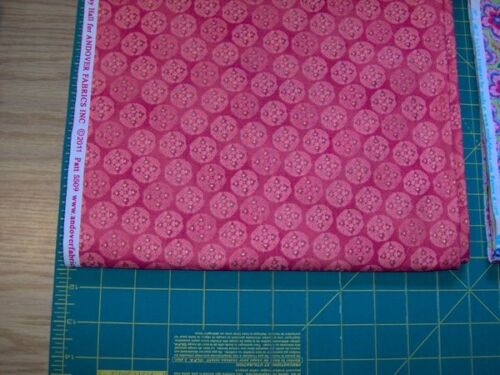 "1 yd x 45/"" Jubilee circles in coral rose by Andover Fabrics"