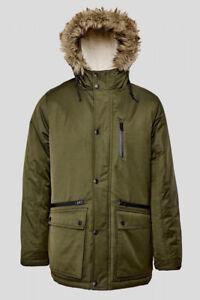 imbottita cappuccio Giacca kaki con in Parka in pelliccia verde temperato tessuto cappotto OOr74WqzZ