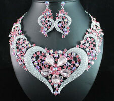 HEART PINK AUSTRIAN RHINESTONE CRYSTAL BIB NECKLACE EARRINGS SET BRIDAL N1620P