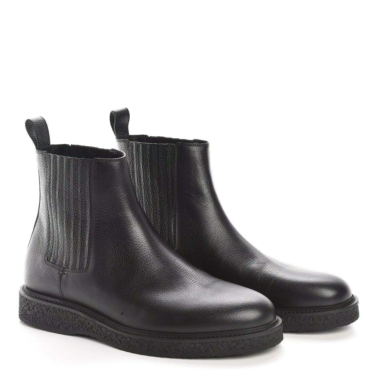 Y-1488173 New Saint Laurent Hugo 25 Black Leather Ankle Boots Size 40 US 7