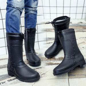 f0103826f2b0d Men s Slip Resistant Snow Black Rain Boots Work Shoes Rubber ...