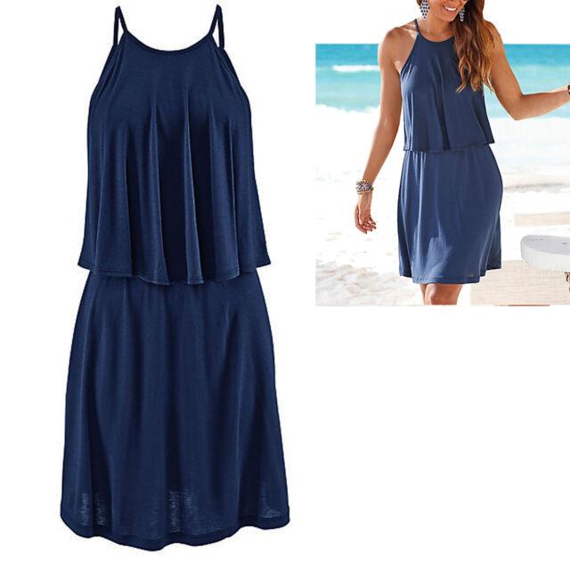 genial Kleid Gr.40/42 L/XL Strandkleid Mini Sommerkleid Jersey Shirtkleid BLAU