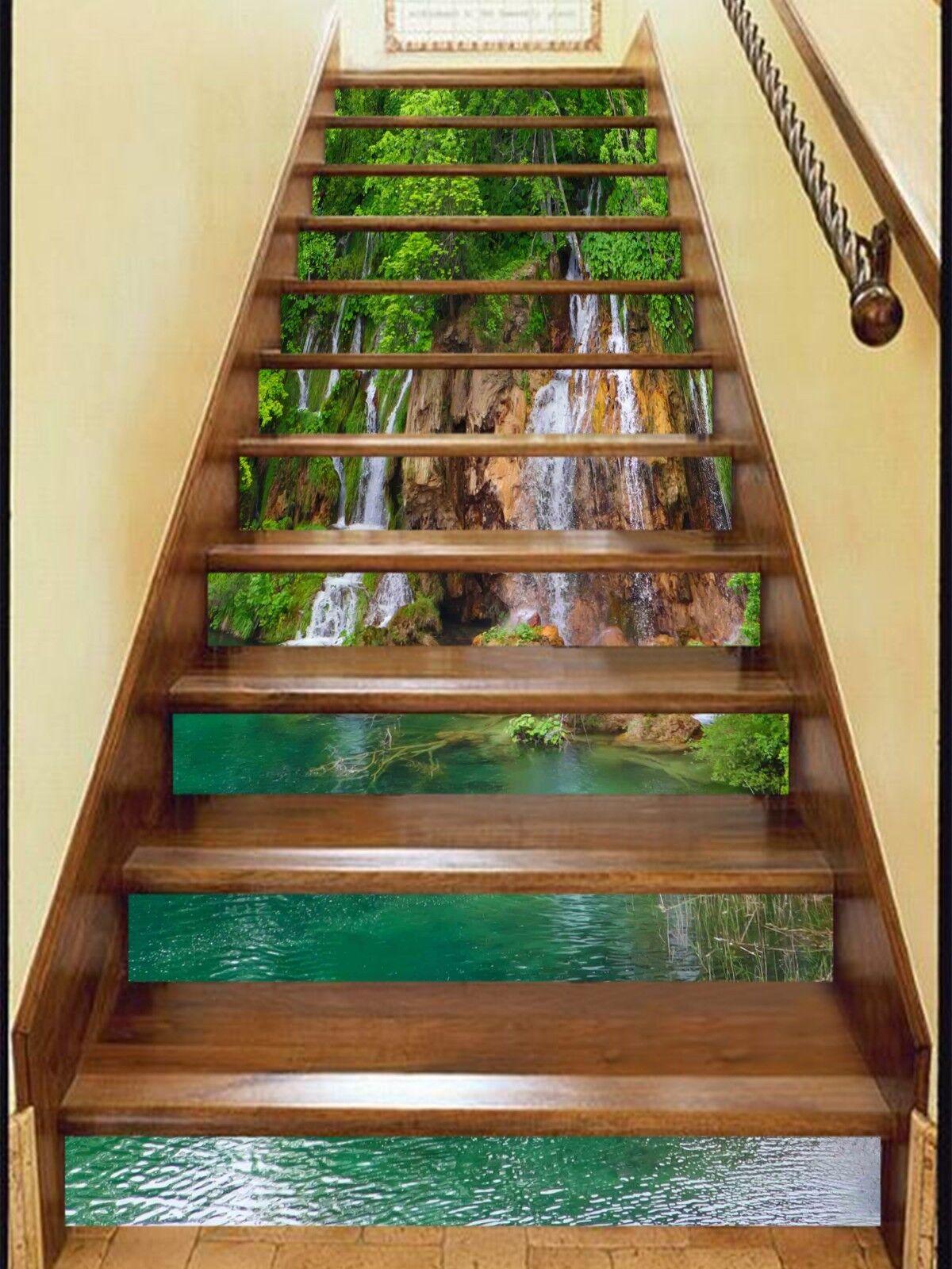 3D Lake Waterfall 3 Stair Risers Decoration Photo Mural Vinyl Decal WandPapier UK