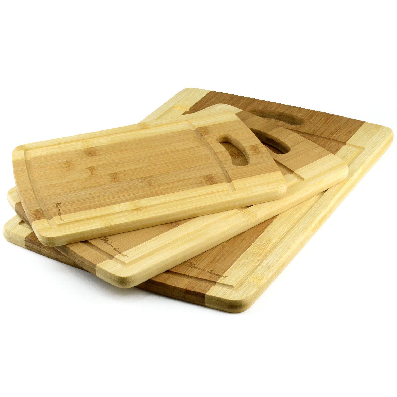 Cutting Board: NEW 3 Piece Set Organic Bamboo Cutting Chopping Board Heim