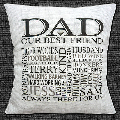 """PERSONALISED DAD Your Own Words HEART KEEPSAKE GIFT 16"""" Pillow Cushion Cover"""