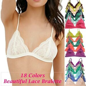 c3210df146 Floral Sheer Lace Triangle Low-Cut Bralette Bra UnPadded Lined Mesh ...