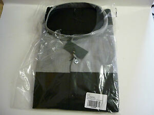Mens-Grandad-Collar-Grey-Black-Smart-Long-Sleeve-Shirt-New-in-pack-All-sizes