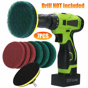 Drill Brush Attachment Set Power Scrubber Cleaning Kit Combo Scrub Tub Clean SET