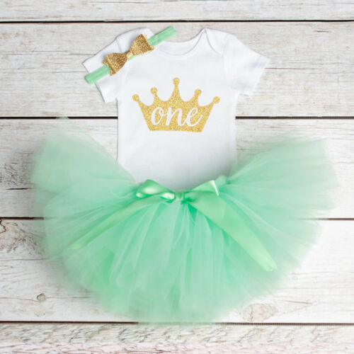 First Birthday Baby Girls Outfit Set Toddler Top Tutu Skirt Party Kids Clothes
