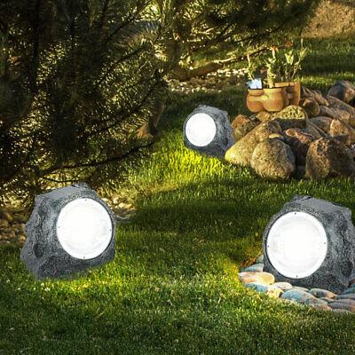Design Deko LED Solar Stand Stein Lampe Leuchte grau Hof Teich Haustür Weg IP44