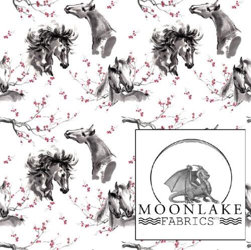 *Exclusive* Japanese Ink Horses 100/%  Cotton Poplin Fabric Meter /& Panel Options