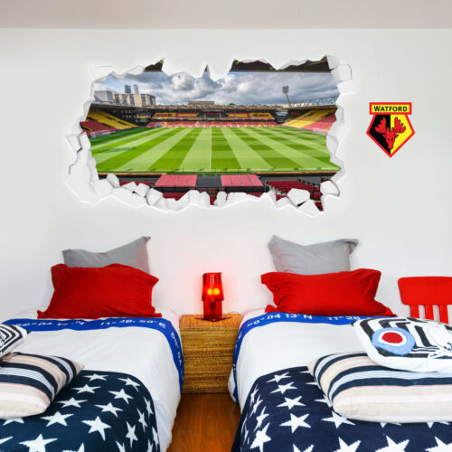 Watford FC Wall Sticker Smashed Vicarage Road Stadium /& Watford FC Decal Set