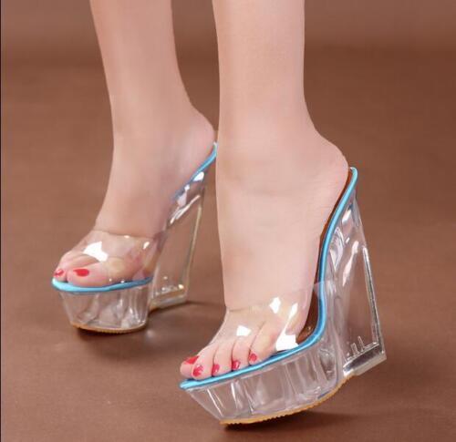 Womens Transparent Wedge Clear Slipper Platform Sandals High Heel Shoes Ske15