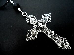 """NEW. 26/"""" LONG A LARGE BLACK CROSS//CRUCIFIX BLACK BALL CHAIN NECKLACE GOTH"""