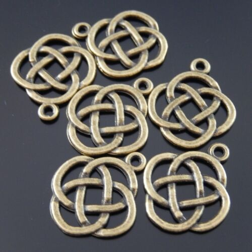 50pcs Antiqued Bronze Alloy Chinese Knot Shaped Pendant Jewelry Accessory Crafts