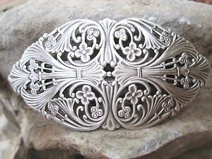 Victorian-Filigree-Silver-Plated-over-Brass-French-Clip-Hair-Barrette-USA-6015S