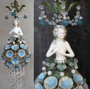 Lady-DOLL-FRENCH-Hydrangea-shade-dress-SWAG-lamp-vintage-Porcelain-Brass-crystal