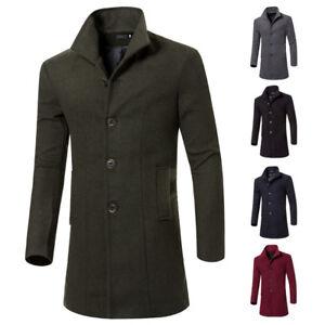 Men Trench Coat Parka Coat Wool Blend Jacket Warm Hip Long Outwear Chic Lapel