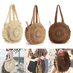 Image Is Loading Summer Women Round Beach Vacation Straw Shoulder Bag