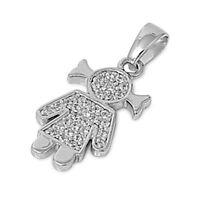 Usa Seller Little Girl Pendant Sterling Silver 925 Best Deal Jewelry Gift