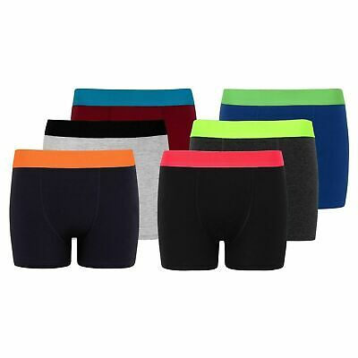 3//6//12 x Kids Boys Neon Plain Cotton Boxer Shorts Under Pant