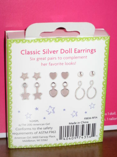 7pr EARRINGS  Fast Ship American Girl ISABELLE DOLL and BOOK with PIERCED EARS