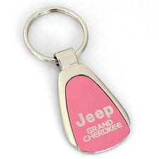 Jeep Grand Cherokee Pink Tear Drop Metal Key Ring