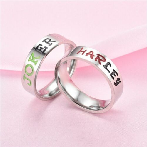 Stainless Steel Joker and Harley Quinn rings Couples His /& Hers DC Comics Batman
