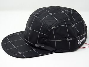 Image is loading Supreme-Lacoste-Reflective-Grid-Nylon-Camp-Cap-Black- f59c5d99480
