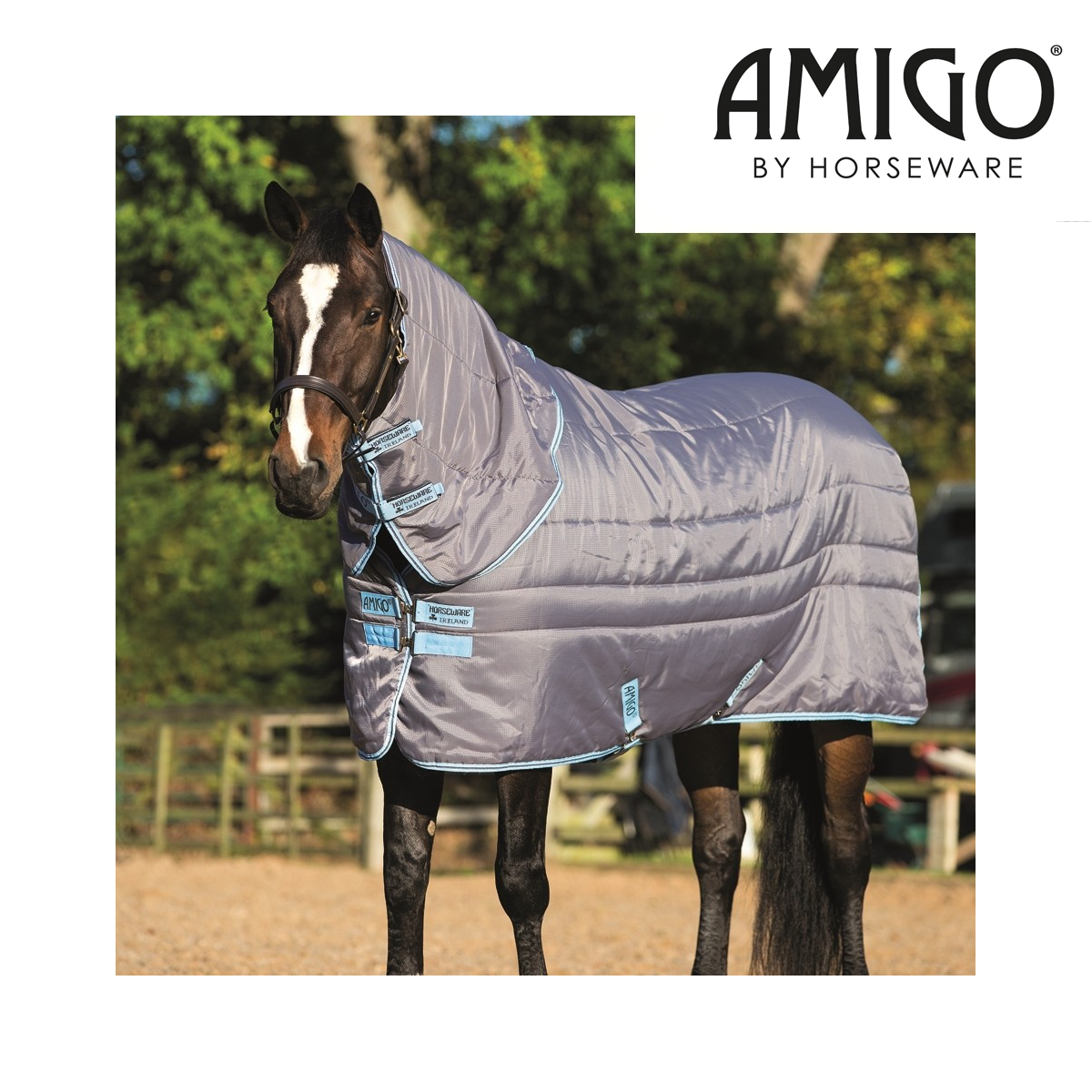 Horseware Amigo XL Insulator Plus Mediumweight Stable Rug (200g) - Light Grau/Bl