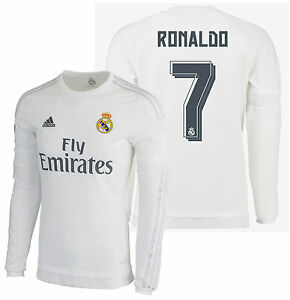 low priced ab9a1 f68d8 Details about ADIDAS CRISTIANO RONALDO REAL MADRID LONG SLEEVE HOME JERSEY  2015/16.