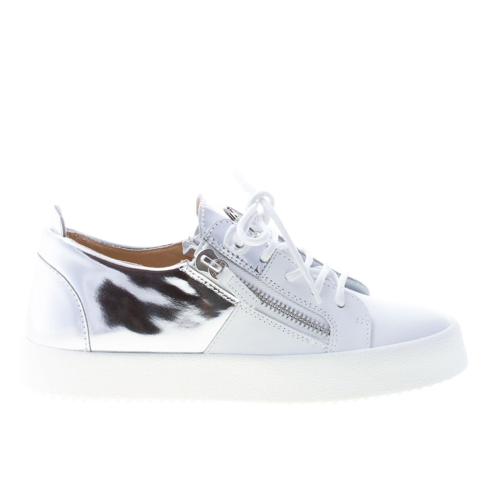 GIUSEPPE ZANOTTI DESIGN women shoes White leather May London sneaker Maxi-zip