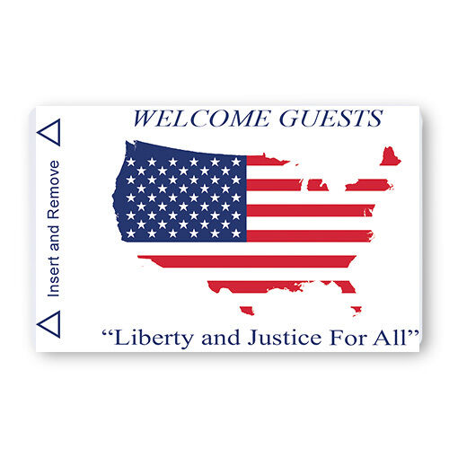 Hotel Key Card Generic Magstripe USA Flag Map - Case of 1,000