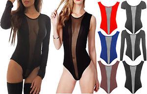 Womens-Black-Long-Cap-Sleeve-Sheer-Mesh-Insert-Bodysuit-Ladies-Sexy-Leotard-Top