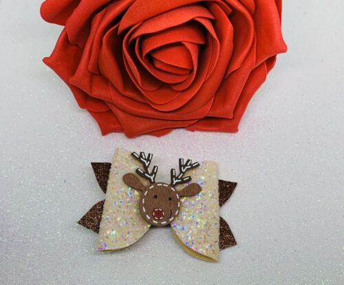 3 Or 4 Inch Cream And Brown Wooden Reindeer Christmas Childrens Hair Bow