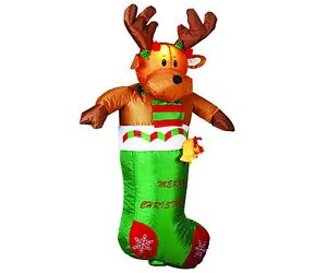 3 6ft large airblown inflatable deerlet christmas lawn for Airblown nutcracker holiday lawn decoration