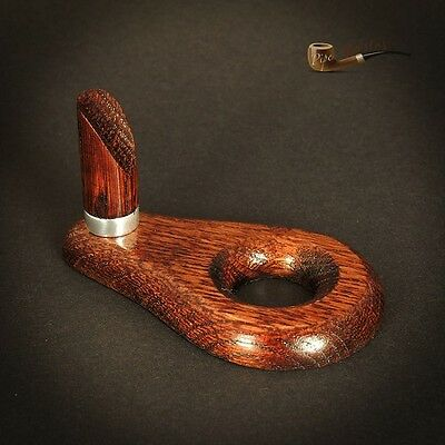 HAND MADE  WOODEN  STAND / RACK - HOLDER for 1 Smoking Pipe BROWN  OAK TREE