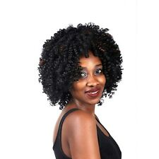 Afro Kinky Curly Short Medium Black Brown Mix Synthetic Fibre Full Wig
