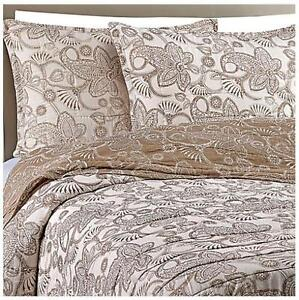 New Bloomingdale S Gaya Cotton Voile Taupe Queen Quilt Set