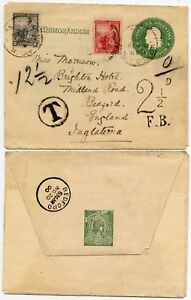 ARGENTINA 1900 STATIONERY UPRATED + POSTAGE DUE CLEAR 2 ½ FOREIGN FB to GB