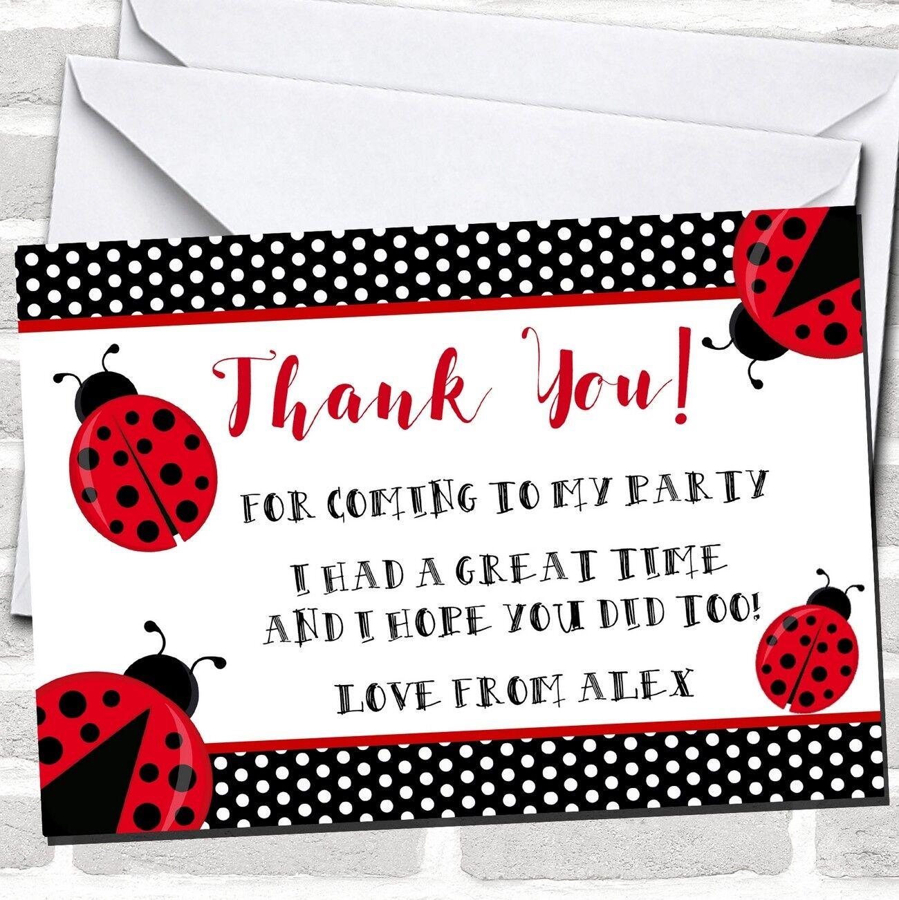 Polkadot Ladybird Ladybug Party Thank You Cards