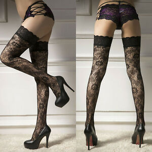 edd6ec07a85 Sexy Women s Sheer Lace Top Thigh-Highs Stockings Garter Belt ...
