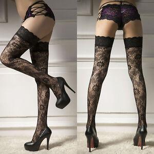 be411ba1ee7 Sexy Women s Sheer Lace Top Thigh-Highs Stockings Garter Belt ...