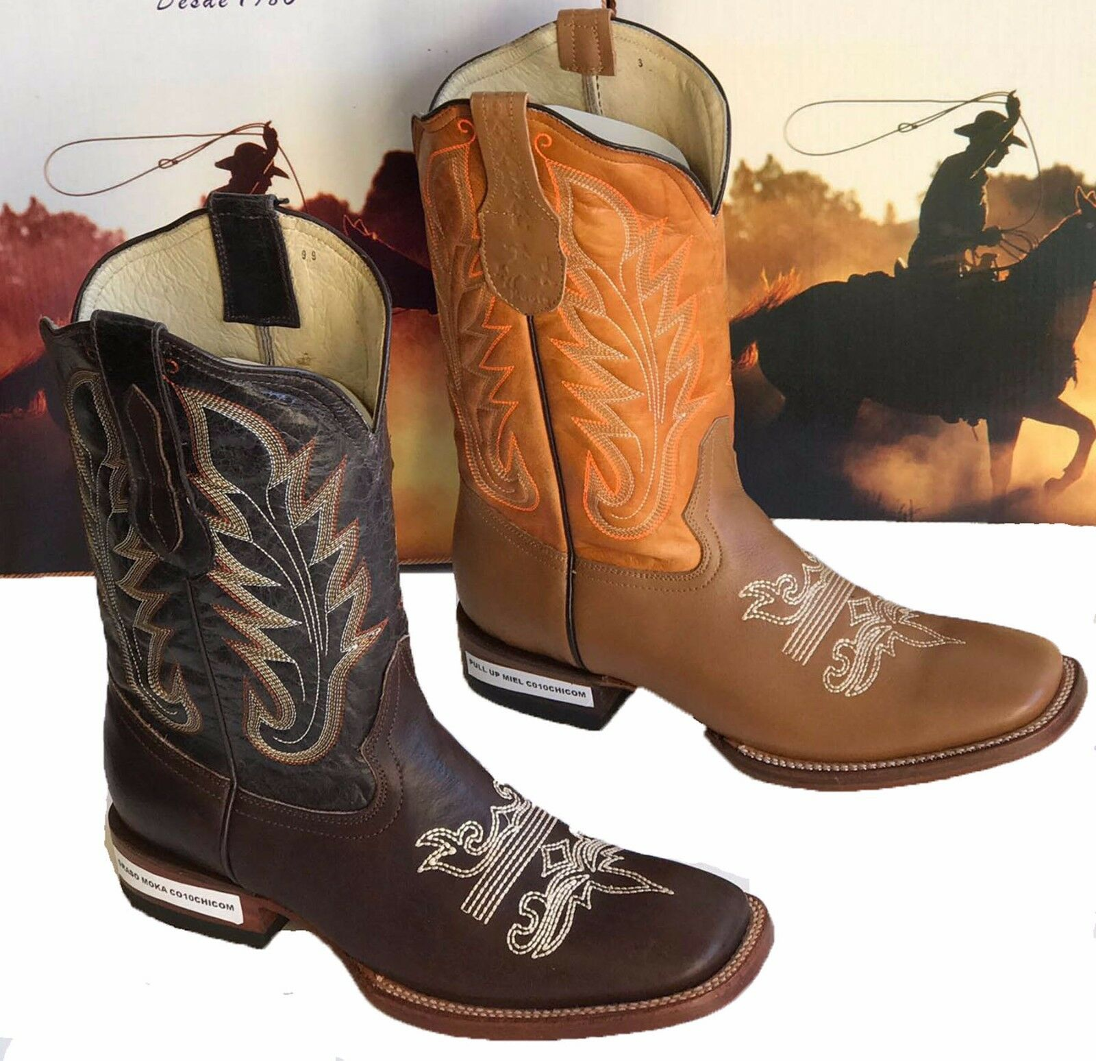 Men Genuine Cowhide Leather Western Cowboy square toe rodeo  BOOTS