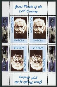 Angola-MNH-Great-Famous-People-of-20th-Century-Einstein-4v-M-S-Science-Stamps