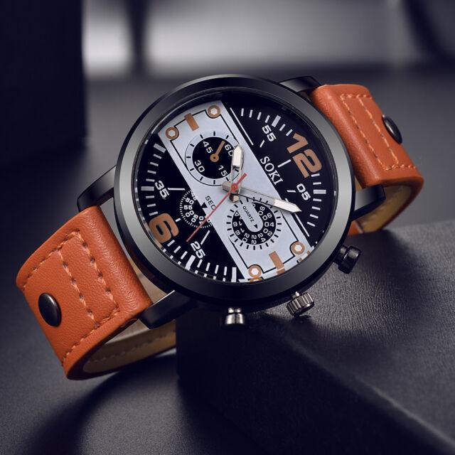Couple Fashion Leather Band Analog Quartz Round Casual Wrist Business Mens Watch
