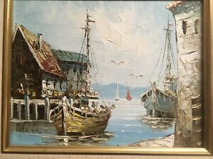 Original-Oil-Painting-on-Canvas-Harbor-Seaside-Fishing-boats-Signed-Adair