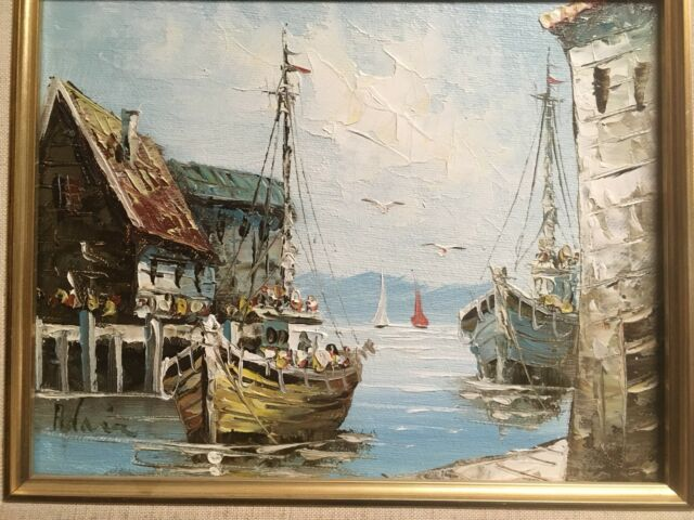 Original Oil Painting on Canvas Harbor Seaside Fishing boats Signed Adair