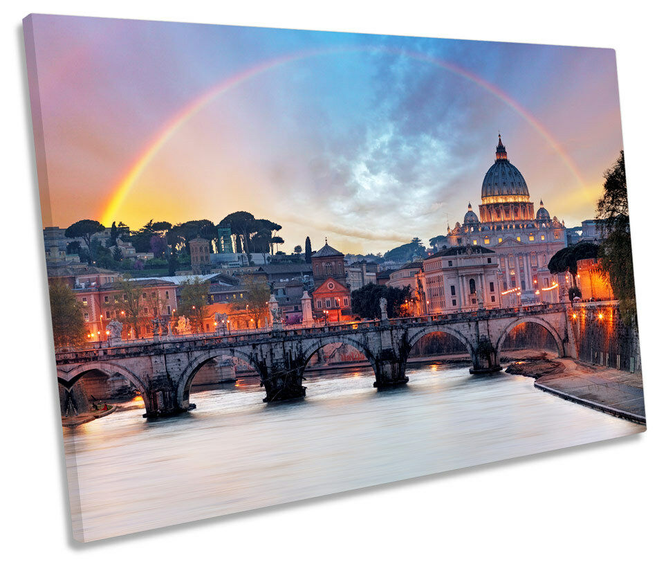 Rome  Bridge City Sunset SINGLE CANVAS WALL ART Print Picture